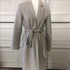 Wool trench pea cocoon style gray jacket